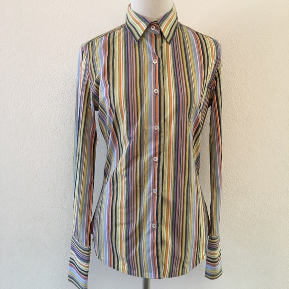 b628bd45 Robert Graham Tops | Womens Striped Multicolor Shirt 2 | Poshmark